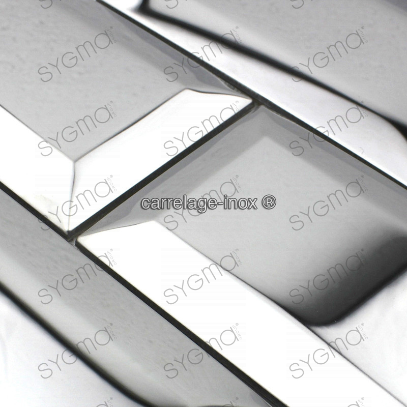 Tile stainless steel mosaic splashback kitchen metro for Carrelage inox credence