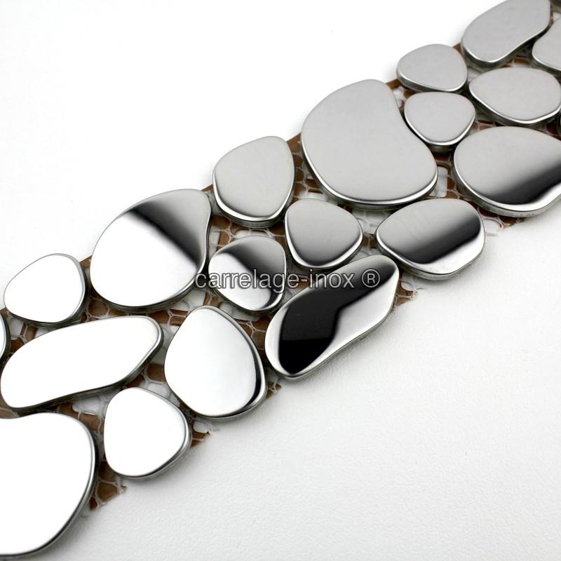 mosaique frise en inox galet miroir carrelage. Black Bedroom Furniture Sets. Home Design Ideas