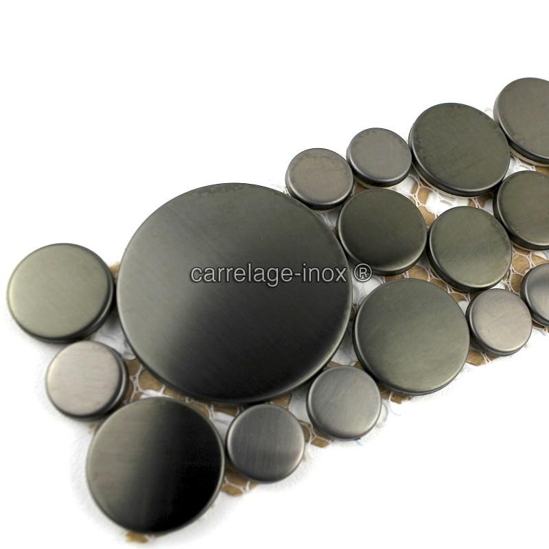 Frise Inox Salle De Bain : Frise en inox mosaique modele loop noir carrelage