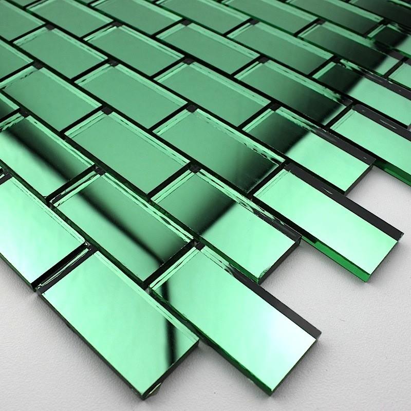 Mosaique de verre salle de bain reflect-vert - carrelage-inox.fr