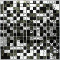 Carrelage verre mosaique sol ou mur salledebains Strass Nero
