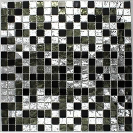 Bathroom Mosaic Tile Glass Gloss Nero Carrelage Inox Fr