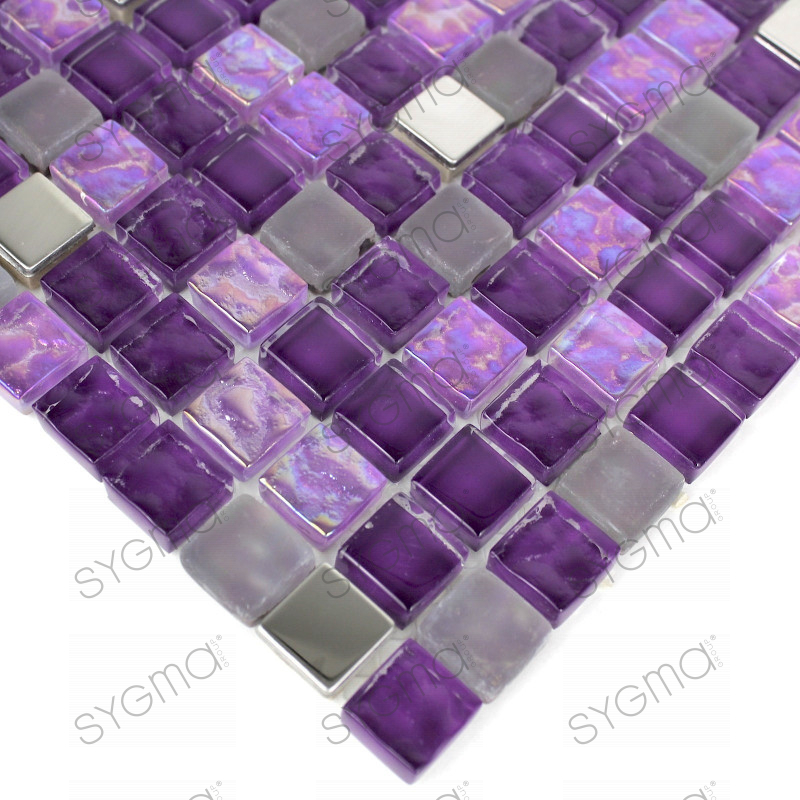 Splashback glass mosaic glass shower harris purple for Carrelage inox fr