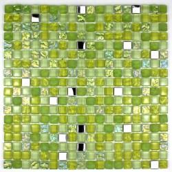 crédence verre, mosaïque verre douche harris-vert