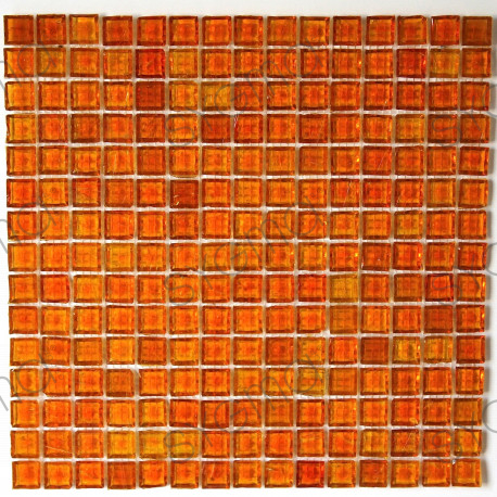 crédence verre, mosaïque verre douche crystal-orange