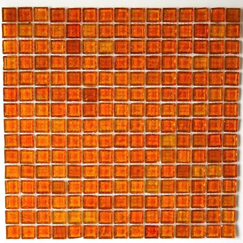 mosaïque verre, crédence cuisine verre, mosaïque douche crystal orange