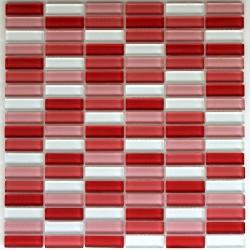 crédence verre, mosaïque verre douche rectangular-rouge