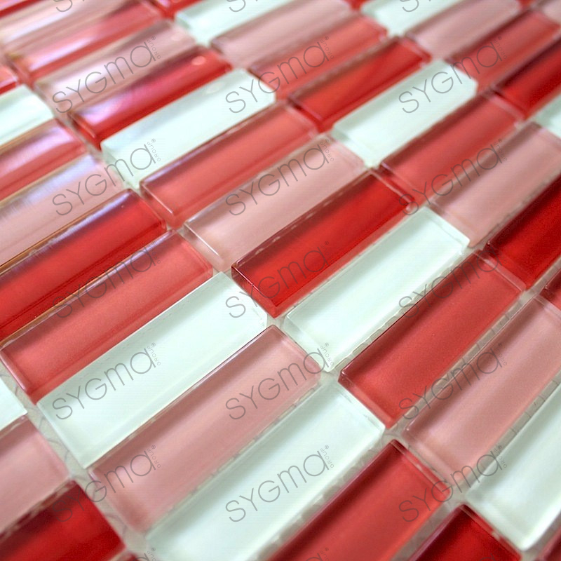 Splashback glass mosaic glass shower rectangular red for Linea carrelage