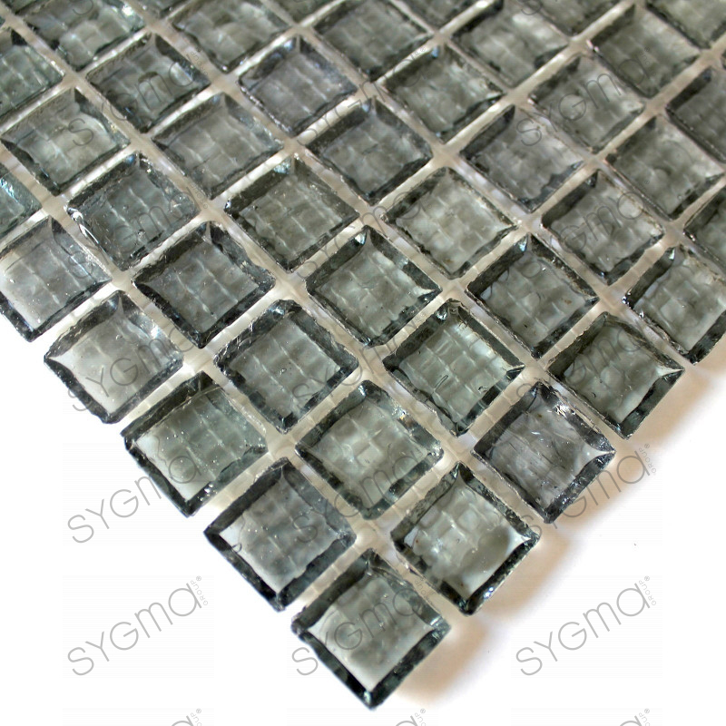 Splashback glass mosaic glass shower crystal grey for Carrelage inox fr
