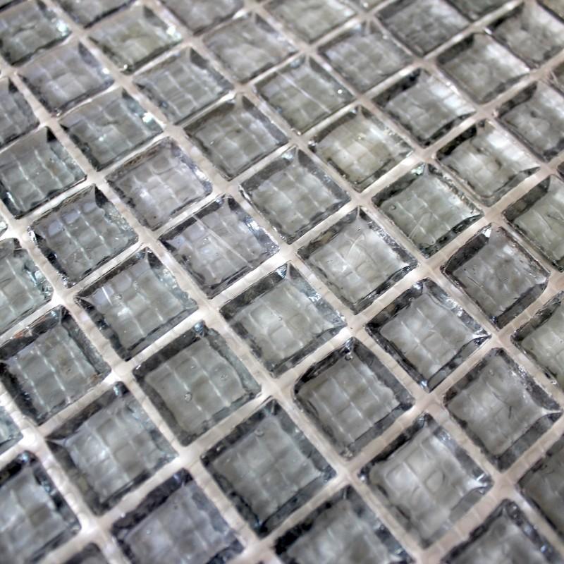 Cr dence verre mosa que verre douche crystal gris for Mosaique carrelage verre