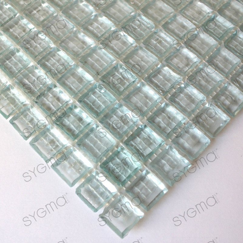 Splashback glass mosaic glass shower crystal neutral for Mosaica carrelage