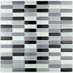 crédence verre, mosaïque verre douche rectangular-noir