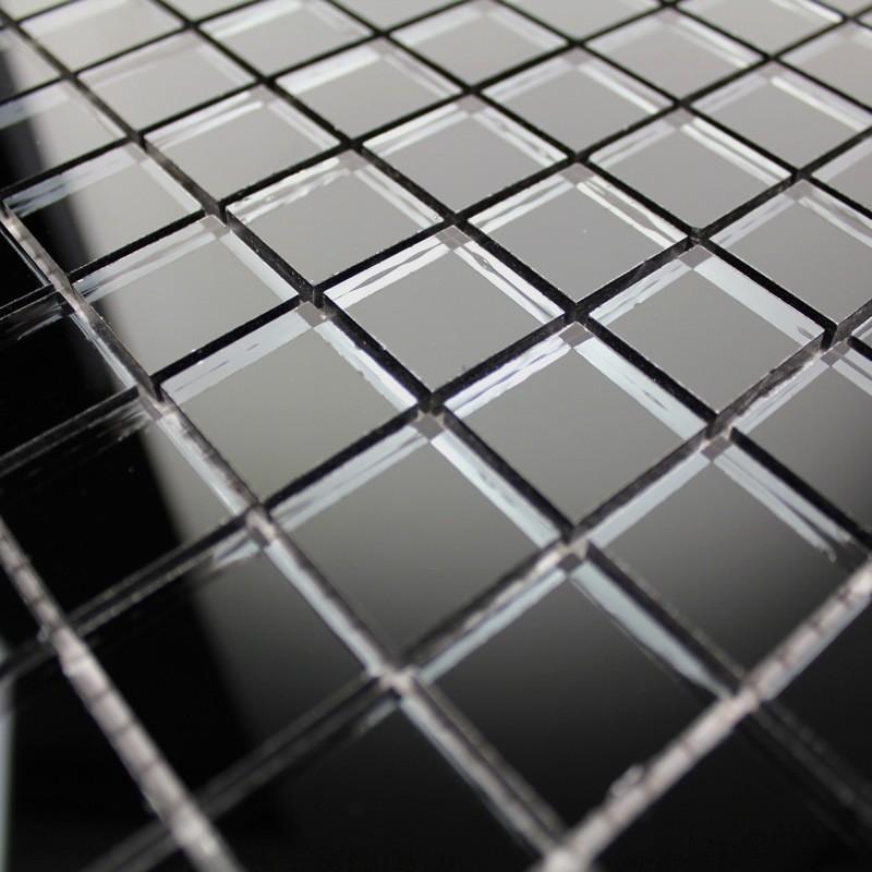 mosaique verre, crédence cuisine verre, mosaïque douche reflect noir