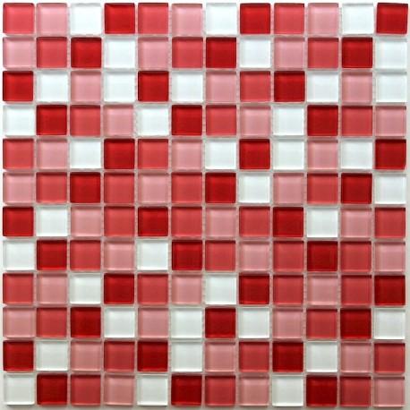 mosaïque verre salle de bain piscine hammam rouge mix