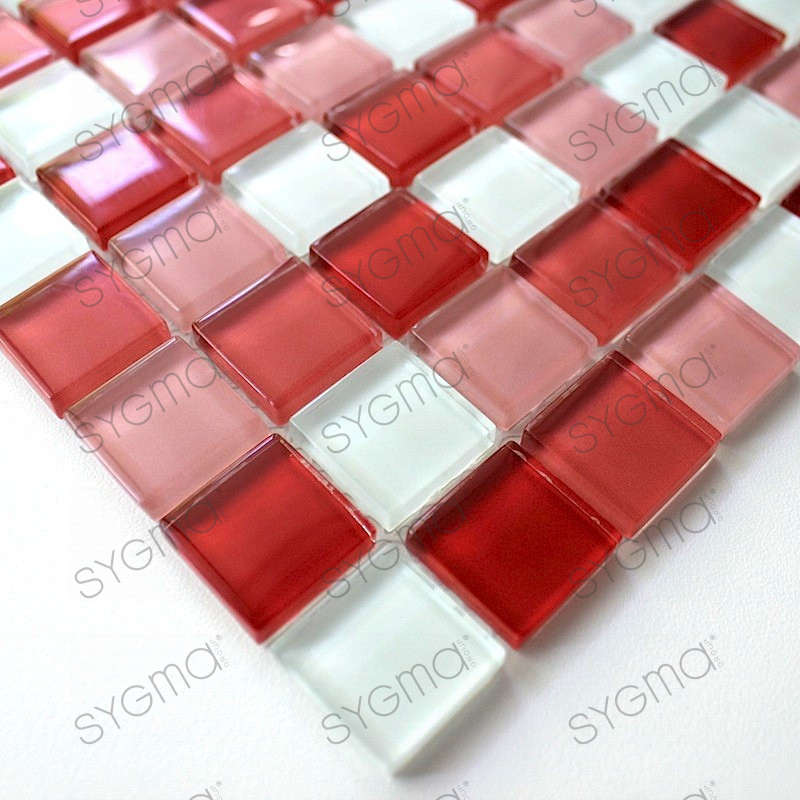 mosaique verre, crédence cuisine verre, mosaïque douche rouge mix