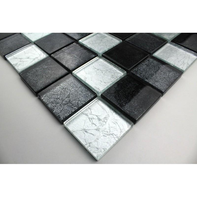 mosaique verre cr dence cuisine verre mosa que douche lux noir. Black Bedroom Furniture Sets. Home Design Ideas