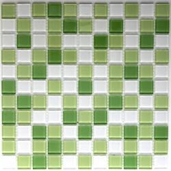 mosaïque verre salle de bain piscine hammam vert mix