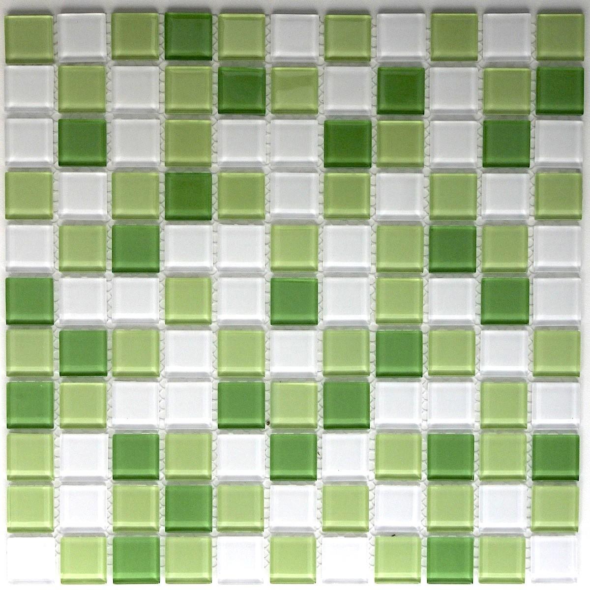 mosaique verre, crédence cuisine verre, mosaïque douche vert mix