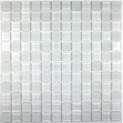 mosaïque verre salle de bain piscine hammam mat blanc 23