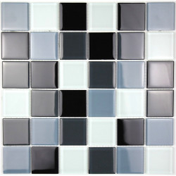 mosaic glass shower bathroom splashback kitchen black 48