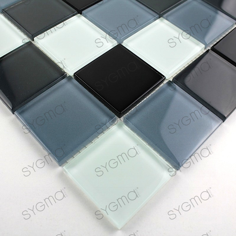 Mosaique verre cr dence cuisine verre mosa que douche noir for Credence inox verre