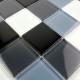 mosaïque verre douche salle de bain crédence cuisine noir 48
