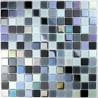mosaïque verre salle de bain piscine hammam noir irisé