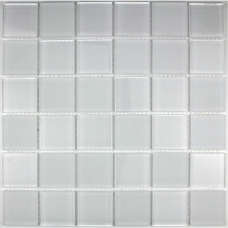 Mosaique verre cr dence cuisine verre mosa que douche mat blanc - Mosaique blanche salle de bain ...