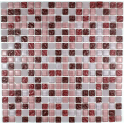 mosaïque verre douche salle de bain crédence cuisine opus rouge