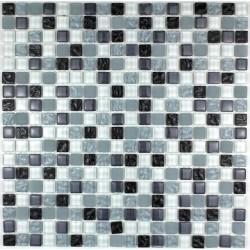 mosaïque verre douche salle de bain crédence cuisine opus noir