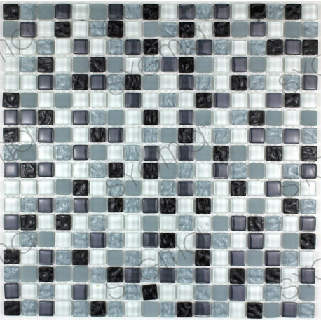 Mosaique salledebain sol et mur opus noir carrelage for Salle de bain sol noir