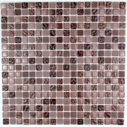 mosaïque verre douche salle de bain crédence cuisine opus marron