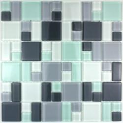 mosaque verre douche salle de bain crdence cuisine domino pinchard - Credence Verre Salle De Bain