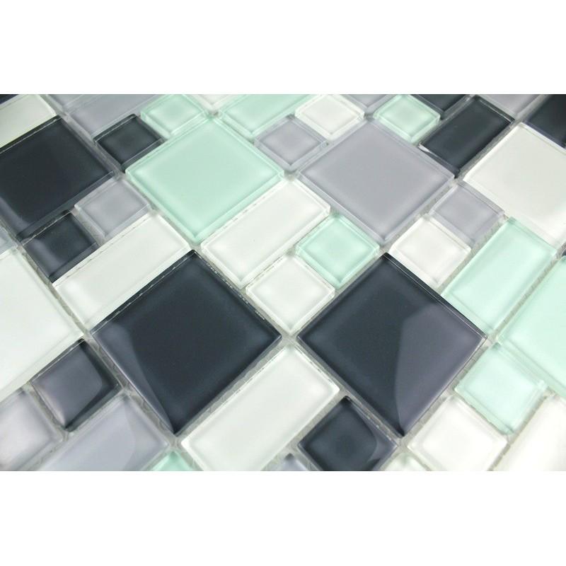 mosaïque verre douche salle de bain crédence cuisine domino pinchard