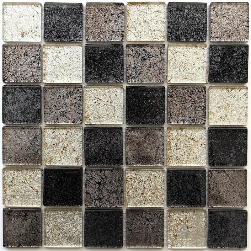 Tile mosaic glass splashback kitchen lux perle48 for Carrelage inox cuisine