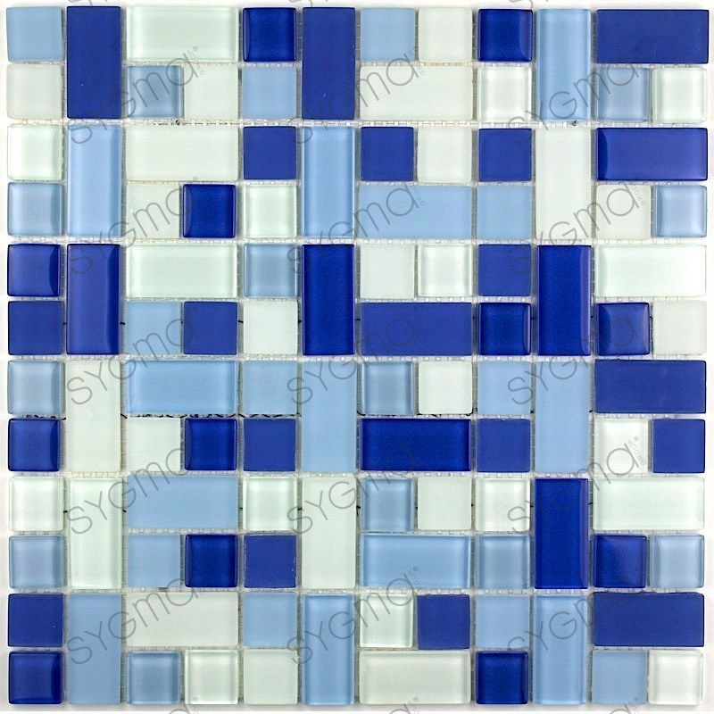 carrelage en verre cuisine et salle de bain cubic-bleu - carrelage ... - Plaque Mosaique Salle De Bain