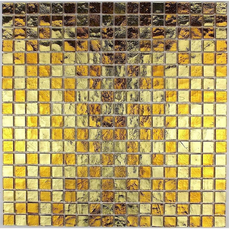 Mosaique douche salle de bain en verre gloss gold - Castorama carrelage mosaique ...