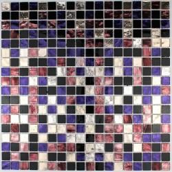 dalle mosaïque verre crédence cuisine gloss-prune
