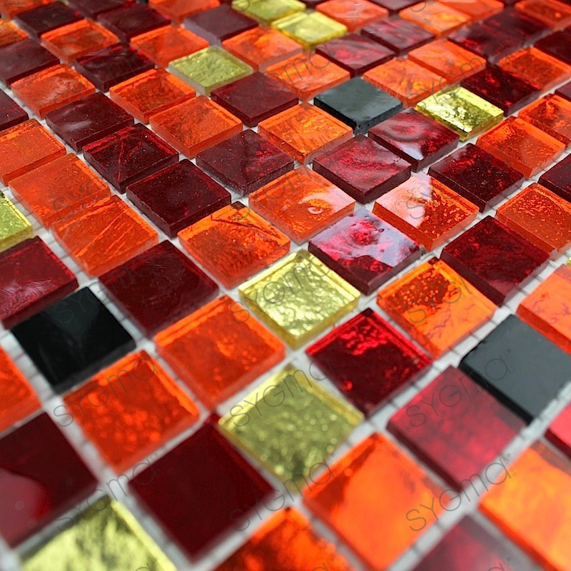 Tile mosaic glass wall and floor gloss chika carrelage for Mosaique carrelage verre