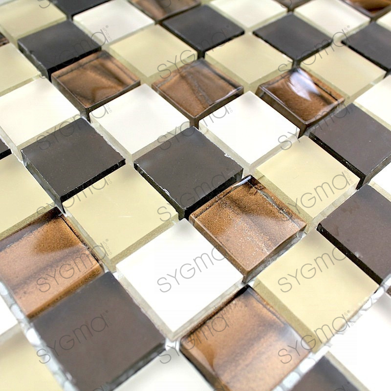Tile mosaic glass floor and wall qualy marron carrelage for Carrelage marron