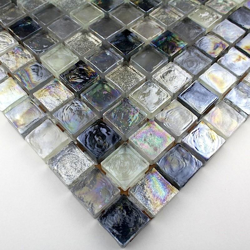 Mosaique verre cr dence cuisine verre mosa que douche zenith gris - Credence verre salle de bain ...