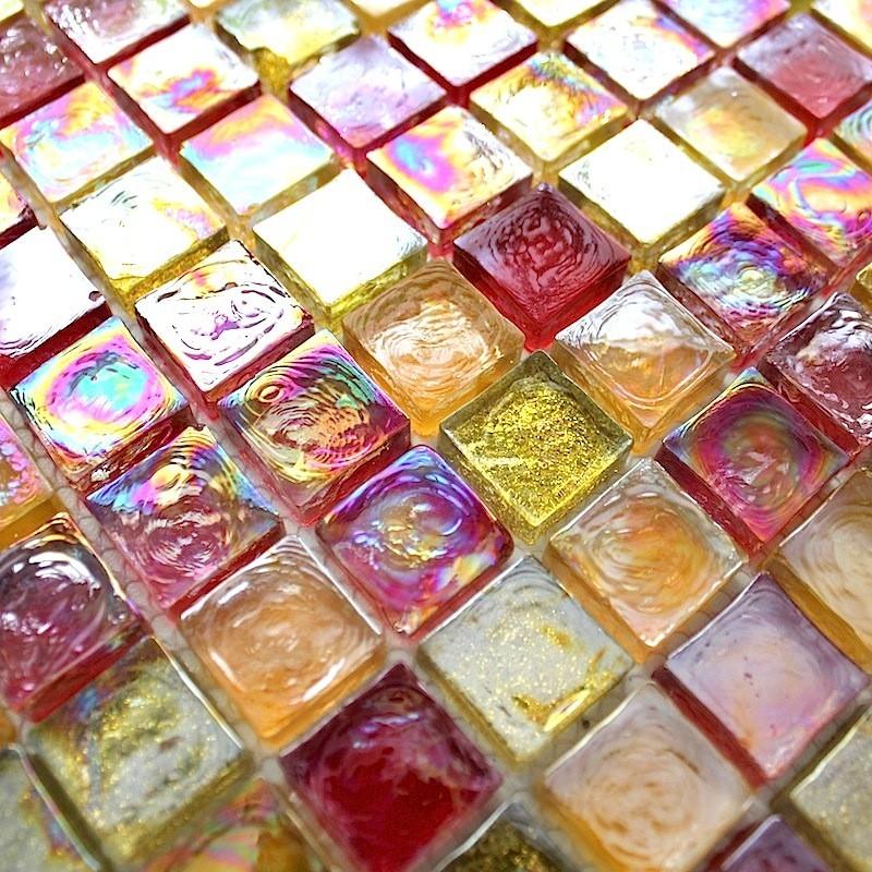 Mosaic glass backsplash kitchen zenith orange carrelage for Carrelage inox cuisine