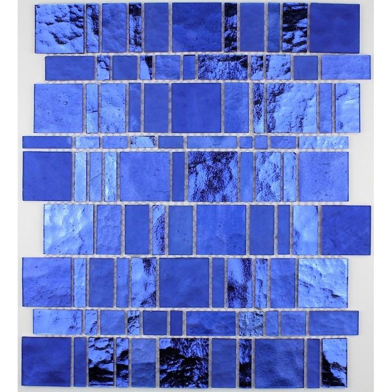 Dalle mosaique verre credence cuisine pulp bleu carrelage - Credence verre salle de bain ...