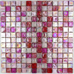 Pink Glass mosaic sheets shower and kitchen Arezo Rose