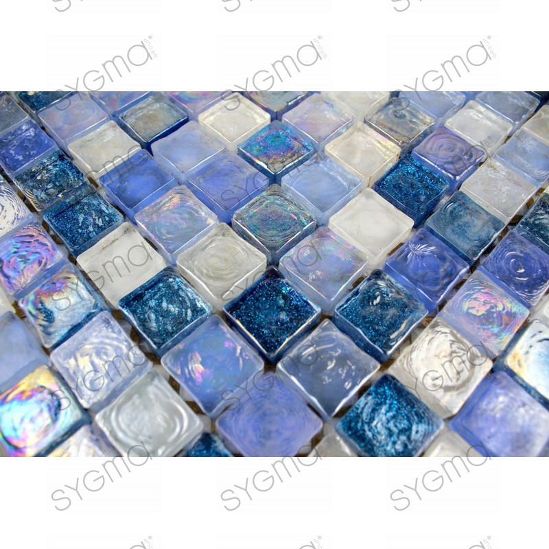 salle d ebain mosaique verre zenith-bleu - carrelage-inox.fr - Plaque Mosaique Salle De Bain