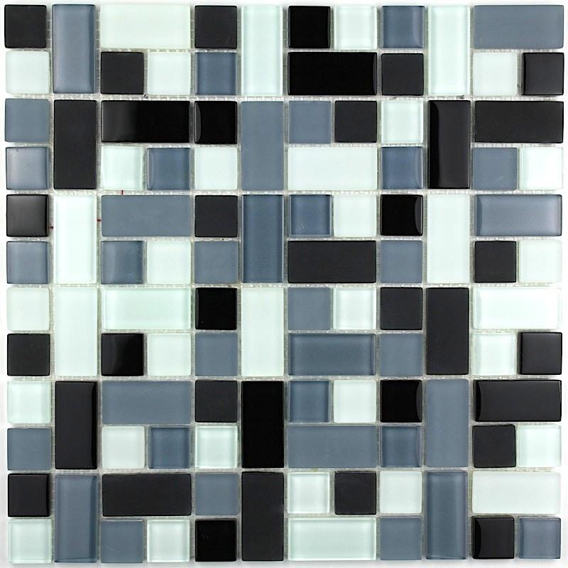 carrelage mosaique verre design cubic-noir - carrelage-inox.fr - Plaque Mosaique Salle De Bain