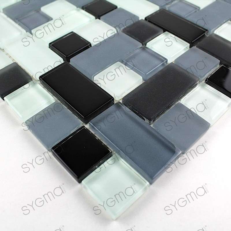 Carrelage mosaique verre design cubic noir carrelage for Mosaique carrelage verre