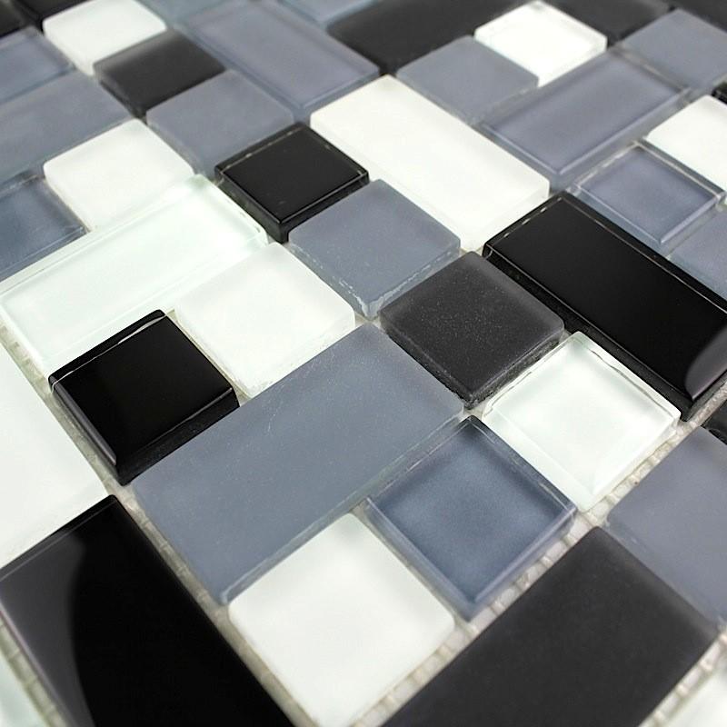 Carrelage mosaique verre design cubic noir carrelage for Carrelage mosaique verre