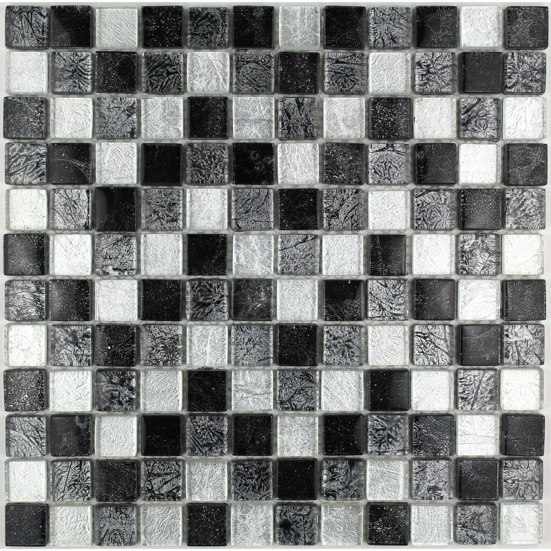 Mosaique En Verre Salledebain Cuisine Luxnoir Carrelageinoxfr - Plaque mosaique salle de bain