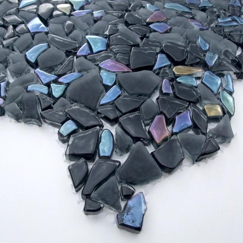 Crystal mosaic floor and wall osmose noir carrelage for Carrelage noir